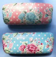 SHABBY CHIC HARD GLASSES CASE SUNGLASSES VINTAGE ROSES POLKA DOT BLUE PINK CLAM