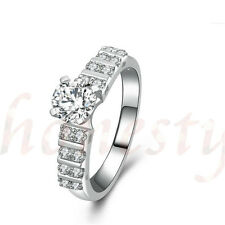 Woman Sona Simulated Diamond Round Cutting 925 Sterling Silver Wedding Ring Gift