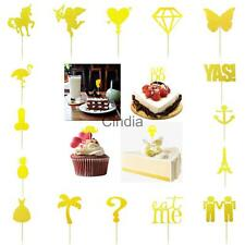 20pcs Glitter Paper Cake Toppers Wedding Birthday Baby Shower Party Food Picks
