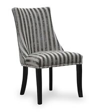 Balmoral Dining Chair Velvet Stripe Mink Pair of 2