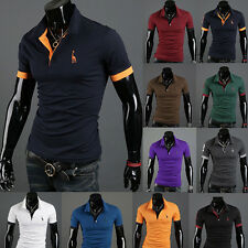 New Men's Slim Fitted Stylish Polo Shirts Short Sleeve Casual T-shirts Tee Tops
