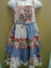 Girls Pretty Blue & White Paneled Strappy Flower Summer Dress - 2-3 Years