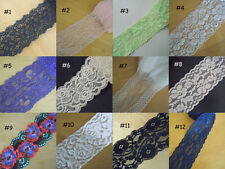 "3-9 Yards 2""-3"" Wide Stretch Floral Lace Black,Green,Pink,Ivory,Violet,White xx9"