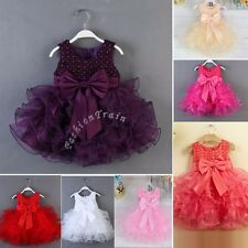Baby Girl Wedding Bridesmaid Party Baptism Christening Pegeant Gown Flower Dress