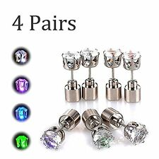 Cool Shiny Funky Glowing Led Lighting Stainless Steel Pierced Earring 4 Pack