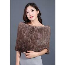 100%Real Genuine Knitted Mink Fur Cape Stole Coat Scarf Shawl Wrap Vintage Brown