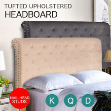 Bed Frame Headboard Upholstered Fabric Button Nailhead Tufted Double Queen King
