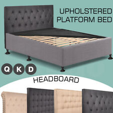Double Queen King Stylish Frame Bed Upholstered Fabric Bed Base Frame Headboard