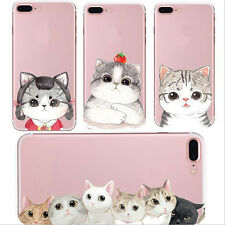 1X Silicon Transparent Cute Phone Case Cover Cell Soft For iPhone Shell New Cat