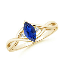 Twisted Shank Marquise Cut Sapphire and Diamond Ring 14K Yellow Gold/ Size 3-13