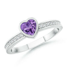 Bezel Heart Amethyst Promise Ring with Diamond Accents 14K White Gold