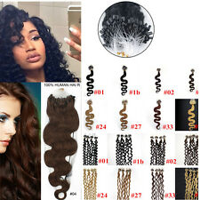 7A 100/200S 20Inch Remy Wavy&curly Loop Micro Rings Beads Human Hair Extensions