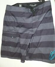 O'NEILL Boardshorts Black Gray Blue Striped Swimsuit Oneill NWT 38