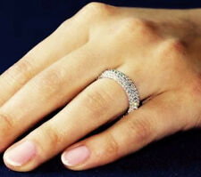 1ct Created Diamond Pave STACKABLE Wedding Ring Band 925 Sterling Silver