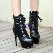 Womens Stiletto Military Motorcycle High Heels Lace Up Platform Ankle Boot Shoes