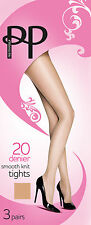 Pretty Polly-Everyday Tights-20 Denier-3 Pair Pack-Smooth Knit-Ladies
