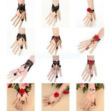 Vintage Rose Flower Lace Gothic Vintage Party Bracelet Chain Ring Women Jewelry