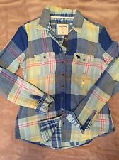Women's Abercrombie & Fitch Blue Plaid Button Down Shirt XS, $68 Long Sleeve