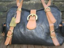 CLASSY  LARGE BLACK TAN BROWN REAL  LEATHER HANDBAG TOMMY & KATE SHOULDER BAG