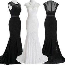 1950s Style Sleeveless Floor-Length Lace Formal Gown WEDDING Prom Party Dresses