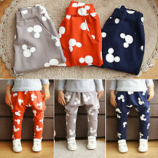 Mickey Print Kids Boy Girl Cotton Harem Pants Elastic Bottom Sweatpants Trousers