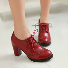 Retro Oxfords Block Heels Shoes Womens Wingtip Lace Up Pumps Brogues mary jane