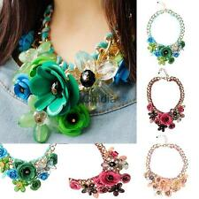 Women Vintage Gold Chain Crystal Flower Pendant Chunky Bib Statement Necklace