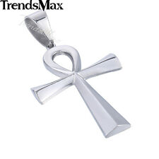 Mens Women Stainless Steel Silver Egypt Ankh Cross Of Life Pendant Necklace
