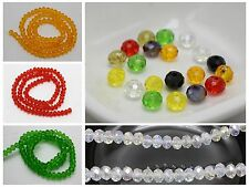 100pcs 4X6mm Rondelle Bead Faceted Crystal Glass Color for Choice