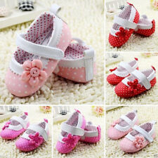Cute Baby Girls Kids Dot Flower Shoes Soft Sole Toddler Leather Crib Shoes 0-18M