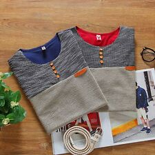 Mens Summer Clasic Tops Short Sleeve Casual T-shirts Slim Fit Patchwork Base Tee
