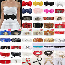Womens Ladies Wide/Thin Waist Band Elastic Stretch Buckle Waist Belt Waistband