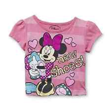 Disney Minnie Mouse Toddler Girls Short Sleeve Pink Shirt Various Sizes NWT