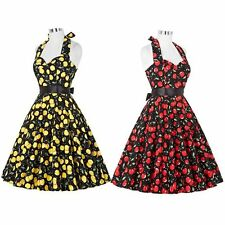 50s 60s Rockabilly Dress Vintage Cherry Swing Pinup Retro Housewife Party Dress