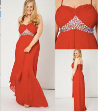Red Pleated Bust & Gem Chiffon Bandeau Strapless Maxi Dress Gown Opt Straps