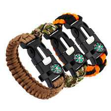 Survival Bracelet Compass Flint Fire Starter Whistle Emergency Camping Gear Kit