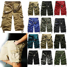 Mens Camo Cargo Shorts Military Army Combat Trousers Tactical 3/4 Knee Pants Hot
