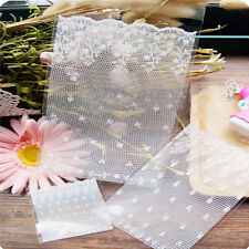 100pcs White Lace Self adhesive Seal OPP Cookie Baking Plastic Packaging Bag Hot