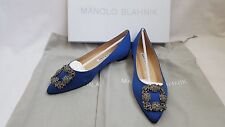 New Authentic Manolo Blahnik Shoes Hangisi Flats Royal Blue Satin Jewel Buckled