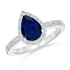 Solitaire Pear Shape Natural Sapphire Engagement Ring with Diamond Halo 14k Gold