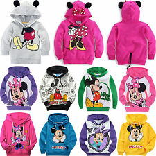 Mickey Minnie Mouse Kids Boys Girls Hoodies Unisex Cotton Clothes Outerwear 1-9Y