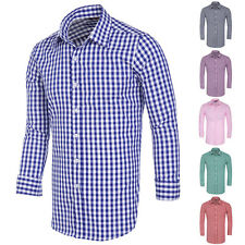 Luxury Shirts Mens Casual Plaid Slim Fit  Long Sleeve T-Shirts Dress Blouses Hot