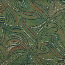 Quilting Fabric Cotton Calico FQ Deep Green Golden Swirl by Classic Cottons