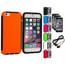 For Apple iPhone 6 (4.7) Hybrid Armor Case Cover+3X Screen Protector+Earphones