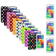 For Samsung Galaxy S5 TPU Rubber Case Cover Polka Dot + 3X Screen Protector