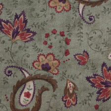Quilting Fabric Cotton Calico Quilt FQ Quilt Green Paisley by B & P for Moda