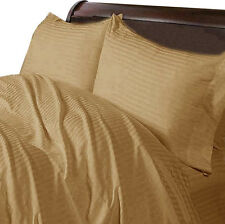 1200 TC Egyptian Cotton UK-Emperor Size Select Bedding Items Taupe Striped