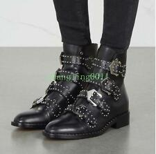 Womens New Gladiator Punk Rivet Pointed Toe Buckle Strap Riding Ankle Boot Shoes