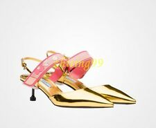 Womens Patent Fashion Kitten Heels Pointed Toe Pumps Slingback Sandals Shoes 11