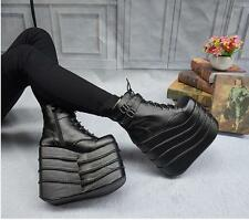 Womens Gothic High Wedge Heels Platform Lace Up Ankle Boots Shoes Pumps Size 9-2